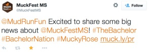 Muckfest Tweet announcing The Bachelor involvment