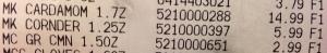 Cardamom receipt