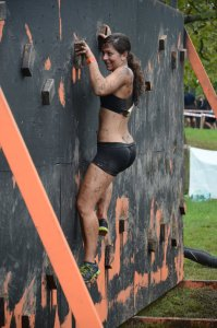Woman on traverse wall