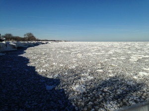 Snow and ice on Lake Michigan