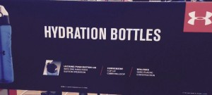 Hydration Bottles sign at Sports Authority