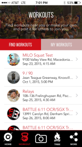 Spartan App Workouts tab