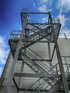 Metal stairs.