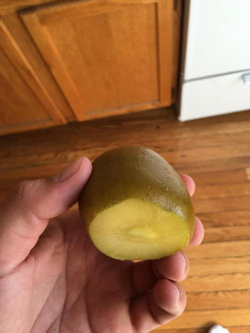 Inside of a golden kiwi.