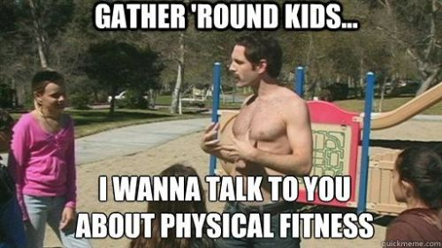 Dennis talks to kids about physical fitness