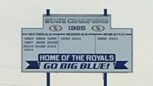 Home of the Royals sign.